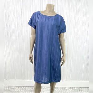 J. JILL Blue Short Sleeve Shift Dress M